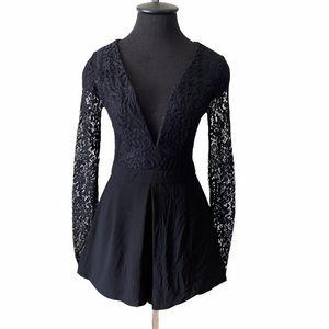 Phanuel Black Lace Long Sleeve Shorts Romper